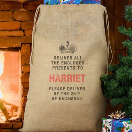Personalised Hessian Sack - Deliver Presents To...
